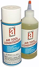 Picture for category <p><strong>Air Tool Conditioner</strong> is a blend of oils that clean, lubricate, and recondition air-operated power tools. This unique formula dissolves sludge and other obstructions assuring optimum tool performance.</p> <p><strong>Features and Benefits:</strong></p> <ul> <li>Eliminates calcium build-up from moisture</li> <li>Improves flow of air pressure</li> <li>Dissolves sludge and dirt accumulation</li> <li>Enables motor parts to move more freely</li> <li>Restores air tools to peak power and rpm's</li> <li>Tools work more efficiently</li> </ul> <p><strong>Applications:</strong> Cleaning and lubricating air operated tools; jackhammers, drills, saws, impact wrenches, sanders, polishers, grinders and other types of air-operated motors.</p> <p>Excellent for use prior to long-term storage.</p> <p>Please call 1-800-991-1106 for 55gal Drum price.</p> <p><strong>**All aerosol products must be Ground Shipped by UPS.</strong></p>