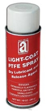 Picture for category <p><strong>PTFE Spray Light-Coat</strong> is a multi-purpose, fast-drying PTFE powder lubricant that will not collect dirt or dust. It is chemically inert, an excellent mold release agent and delivers a low coefficient of friction to solve many friction problems.</p> <p><strong>Features and Benefits:</strong></p> <ul> <li>Dry-film lubricant and release agent</li> <li>Not affected by most chemicals and solvents</li> <li>Low coefficient of friction (0.02)</li> <li>Will not react or combine with process materials</li> <li>Fast drying and non-staining</li> <li>Will not freeze, withstands 500°F (260°C)</li> <li>Aerosol is CFC Free</li> </ul> <p><strong>Applications:</strong> Light-duty gears, bearings, rollers, sliding surfaces, textile and paper machinery where cleanliness is critical, and as a mold release agent.</p> <p><strong>**All aerosol products must be Ground Shipped by UPS.</strong></p>