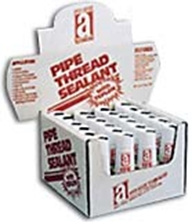 """Picture for category <p><strong><span style=""""font-size: 12pt;"""">Counter Display</span></strong></p> <p><strong>Choose from:</strong><br />14003A 24 - 3 oz Tubes<br />14012A 12 - 1/2 pt Brush Top Cans<br /><br /></p> <p><strong>TFE™</strong> is a superior-grade, non-hardening, heavy-duty pipe thread sealant that is easy to-apply. Formulated to a thick paste consistency, its fortified with an extra amount of PTFE and PTFE materials to give a positive seal with less effort Because of its unique solids content, <strong>TFE</strong> fills thread imperfections and provides leak-proof joints that seal for the life of the connection. Not for oxygen use.</p> <p><strong>Features and Benefits:</strong></p> <ul> <li>Heavy-duty sealant</li> <li>Contains no solvents</li> <li>Seals immediately, no waiting</li> <li>Non-staining, non-corrosive, non-hardening, non-toxic</li> <li>Non-dripping, can be applied to newly cut hot threads</li> <!--<li>FDA compliant</li>--> <li>Prevents corrosion, seizing and galling</li> <li>UL Classified <!--and NSF Registered--></li> <li>UL Classified for fire protection sprinkler systems</li> </ul> <p><strong>Temperature/Pressure Ranges:</strong> Withstands temperatures to 500°F (260°C) and pressures to 10000 psi (liquid), 2000 psi (gas)</p> <p><strong>Applications:</strong> Recommended for pipes carrying<!--potable  -->water, steam, LP and natural gas, refrigerants, solvents, caustics, dilute acids, oils, diesel fuel and ethanol. Use on all pipe threads made of cast iron, malleable, brass, copper, and stainless steel. Designed for use by all pipe fitters, fabricators, plumbers, and mechanical contractors. Please call 1-800-991-1106 for 55gal Drum price.</p>"""