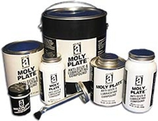 """Picture for category <p><strong>Moly Plate™</strong> is a metal-free compound composed of molybdenum disulfide and graphite with a synthetic non-melting carrier. """"Moly"""" with its very low coefficient of friction makes this product an excellent choice for high loads and parts in extreme pressure and temperature conditions up to 2600°F (1426°C).</p> <p><strong>Features and Benefits:</strong></p> <ul> <li>Withstands extreme weather conditions</li> <li>Does not form a carbon abrasive after high-temp exposure</li> <li>Highly water resistant</li> <li>Protects against rust and corrosion</li> <li>Resists seizing and galling</li> </ul> <p><strong>Applications:</strong> Metal connections where reactive metals such as copper and aluminum must be avoided, rough-cut threads made of iron, steel, and most alloy, stainless steel, aluminum, and alloys that tend to gall easily.</p>"""
