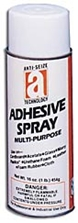 Picture for category <p><strong>Adhesive Spray</strong> is a multi-purpose, pressure-sensitive adhesive designed to form either permanent or temporary bonds between two porous or non-porous materials. Adhesive Spray is specially designed for many industrial applications as well as contractor, office, home, and hobby use. Adhesive solids are non-toxic, non-irritating, and meet requirements for indirect food additives as outlined in Fed. Reg. paragraphs 121.2507 to 121.2577.</p> <p><strong>Features and Benefits:</strong></p> <ul> <li>Colorless</li> <li>Low soak-in</li> <li>Non-clogging</li> <li>Waterproof</li> <li>Non-toxic solids</li> <li>Fast aggressive tack action</li> <li>Aerosol is CFC Free</li> </ul> <p><strong>Temperature Range:</strong> Up to 110°F</p> <p><strong>Applications:</strong> Permanent and temporary bonds on paper, cardboard, all types of gaskets, cloth, foil, mylar or acetate sheets, glass, many plastics, urethane foam, leather and foam rubber. Temporary bond eliminates need for tacks or pins making any surface a bulletin board. Printing plants, advertising agencies, trucking companies, shipping departments, and/or any industry requiring package sealing and applying labels.</p> <p><strong>**All aerosol products must be Ground Shipped by UPS.</strong></p>
