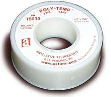 Picture for category <p>Our most-popular thread seal tape, <strong>Poly-Temp® MD</strong> is made from 100% pure PTFE resins. Its medium density allows it to be used as a general-purpose thread seal tape in most applications. May be used on all types of pipes and most services. More economical than most paste thread-sealing compounds, never dries out, no mess, no dripping, easy to apply. UL Recognized Component.</p>