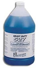 Picture for category <p><strong>Heavy Duty 527™</strong> is a concentrated, water-based detergent specially formulated without butyl or other solvents. Phosphate and caustic free with a unique blend of highly active surfactants to remove heavy industrial type soils.</p> <p><strong>Features and Benefits:</strong></p> <ul> <li>Cleans by spontaneous emulsion, free of acids and ammonia</li> <li>Non-flammable</li> <li>Prevents re-depositing of oily soils during cleaning</li> <li>Deodorizes as it cleans</li> <li>Rust-inhibiting</li> <li>Biodegradable, leaves no residue</li> </ul> <p><strong>Applications:</strong> All hard surfaces, floors, walls, fiberglass, metals, nylon, porcelain, ceramic tile, rubber, marble, concrete, linoleum. Recommended for soot buildup, cooking grease, and heavier industrial cleaning problems.</p> <p>Please call 1-800-991-1106 for 55gal Drum price.</p>