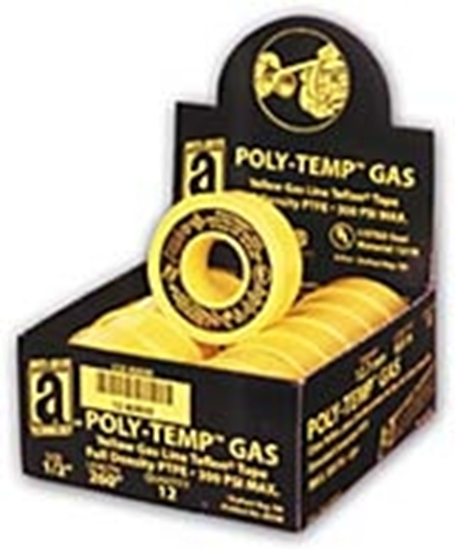 "46330A, POLY-TEMP® Yellow Gas Line Tape (XHD) - 1/2"" x 260"" - POP Box"