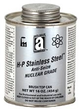 Picture for category <p><strong>H-P Stainless Steel™ Anti-Seize Compound, Nuclear Grade,</strong> is formulated with ultra pure graphite and stainless steel powder to meet the demanding requirements of the Nuclear and electrical power generating industry. Each Lot is rigorously tested for halogens, sulfur, nitrates, nitrides, and low melting metal elements specifically restricted for use in Nuclear power plants. Exceeds the purity requirements set forth by Westinghouse and General Electric for use in nuclear power plants as well as turbine applications.</p> <p><strong>H-P Stainless Steel™ Anti-Seize Compound, Nuclear Grade</strong> contains a premium, fully synthetic, non-melting base grease to<br />withstand temperatures in excess of 450°F (232°C). It will not drip at extreme temperatures. Stainless Steel fillers form a laminar matrix of overlapping particles to shield out moisture, providing a high degree of chemical, corrosion, and UV resistance. Will provide thermal resistance from -50°F to 2400°F (-46°C-1316°C).</p> <p><strong>Features and Benefits:</strong></p> <ul> <li>Comply with Toshiba/Westinghouse Specification; APP-GW-Z0-602 and GE/Hitachi Specification; D50YP12</li> <li>Nuclear power plant hardware Class 1, 2, 3 fittings in reactors, steam generators, turbines. Particularly good for critical, large joint assembly</li> <li>Ultra low levels of restricted elements for the nuclear and electrical generation industry. Extreme low levels of sulfur, halogens, and low melting point metals</li> <li>Traceability of lot with test report</li> <li>Excellent chemical resistance. Prevents galling and seizure when assembling hard metal alloys</li> <li>Seals out moisture from the underlying parts to enhance corrosion resistance</li> <li>Non-melting grease mean the compound will stay on the parts at elevated temperatures without the fear of dripping off and contaminating the surrounding areas</li> <li>Low environmental impact</li> </ul> <p><strong>Applications:</strong> G