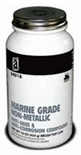 Picture for category <p><strong>MARINE GRADE NON-METALLIC™ </strong>Anti-Seize & Anti-Corrosion Compound is designed to give optimal performance in harsh Marine environments. It has been specifically engineered to withstand wet, humid conditions in both fresh and saltwater.</p> <p><strong>MARINE GRADE NON-METALLIC™</strong> will protect parts under extreme pressure and heat conditions. Contains proprietary grease designed with advanced rust and corrosion inhibitors which have been selected for their ability to function in wet environments and withstand salt water exposure for long periods of time.</p> <p><strong>MARINE GRADE NON-METALLIC™</strong> contains our proprietary hybrid grease along with a high non-metallic solid content that will act as an electrical insulator between dissimilar metals inhibiting galvanic corrosion.</p> <p><strong>Features and Benefits:</strong></p> <ul> <li>Protects assemblies in wet humid conditions</li> <li>Versatile, works on small and large assemblies</li> <li>Reduces friction</li> <li>Speeds disassembly</li> <li>Inhibits galvanic corrosion between dissimilar metals</li> <li>High resistance to seizing, galling, and cold welding</li> <li>High resistance to salt water corrosion</li> <li>Compatible with all types of metals and most plastics</li> <li>Non-hardening and non-dripping</li> <li>Brush-top applicator available</li> <li>Meets the performance requirements of MIL-PRF-907F specifications</li> </ul> <p><strong>Restrictions: </strong> Not for use on Oxygen Systems nor as a sealant for Chlorine or other strong oxidizing materials.</p> <p><strong>Temperature Range:</strong> -65º to 2400ºF (-53º to 1315ºC)</p> <p><strong>Application Method: </strong> Clean all surfaces before application. Apply with a brush.</p> <p><strong>Applications: </strong> Anchor pullies and pins, bolts & nuts, bushings, bilge screws and piping, engine & housing fasteners, hatch covers, hinges, mounting screws, porthole studs, prop shafts, rigging & hoist cables, 